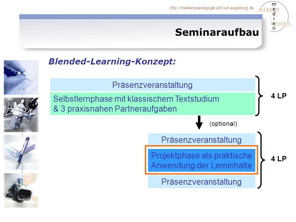 http://medienpaedagogik.phil.uni-augsburg.de Seminaraufbau Blended-Learning-Konzept: Selbstlernphase mit klassischem Textstudium & 3 praxisnahen Partneraufgaben Projektphase als praktische Anwendung der Lerninhalte Präsenzveranstaltung (optional) 4 LP