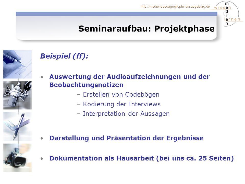 http://medienpaedagogik.phil.uni-augsburg.de Beispiel (ff): Auswertung der Audioaufzeichnungen und der Beobachtungsnotizen –Erstellen von Codebögen –K