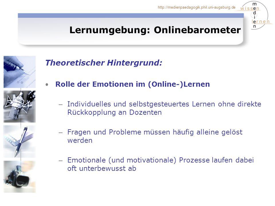 http://medienpaedagogik.phil.uni-augsburg.de Lernumgebung: Onlinebarometer Theoretischer Hintergrund: Rolle der Emotionen im (Online-)Lernen – Individ