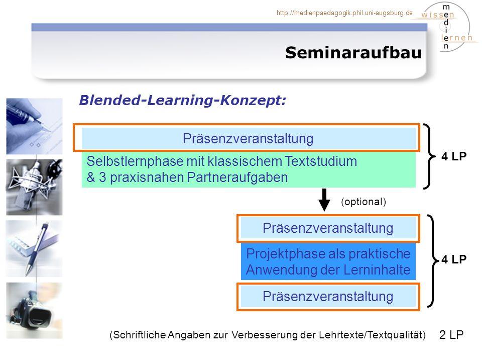 http://medienpaedagogik.phil.uni-augsburg.de Seminaraufbau Blended-Learning-Konzept: Selbstlernphase mit klassischem Textstudium & 3 praxisnahen Partn