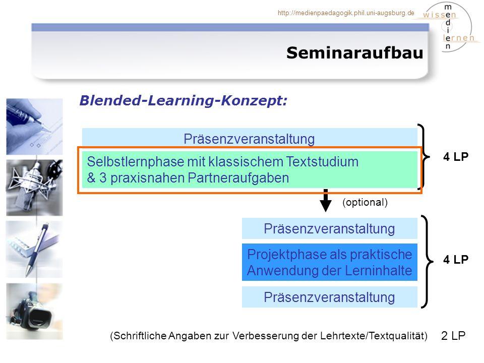 http://medienpaedagogik.phil.uni-augsburg.de Seminaraufbau: Zeitplan Zeitplan Selbstlernphase mit Partneraufgaben (4LP) ZeitInhalt 27.04.06 (15-18) (Do.) Präsenzsitzung: Einführung 28.04.-30.04.06Orientierungsphase 01.05.-05.05.06Selbstlernphase I: Baustein I (Grundzüge) 08.05.-12.05.06Selbstlernphase II: Baustein II (Erhebung) 13.05.06 (22 Uhr)Abgabetermin für Partneraufgabe 1 15.05.-26.05.06Selbstlernphase III: Baustein III (Auswertung) 27.05.06 (22 Uhr)Abgabetermin für Partneraufgabe 2 29.05.-09.06.06Selbstlernphase IV: Baustein IV (Designs) 10.06.06 (22 Uhr)Abgabetermin für Partneraufgabe 3 12.06.-16.06.06Selbstlernphase V: Baustein V (Reflexion)