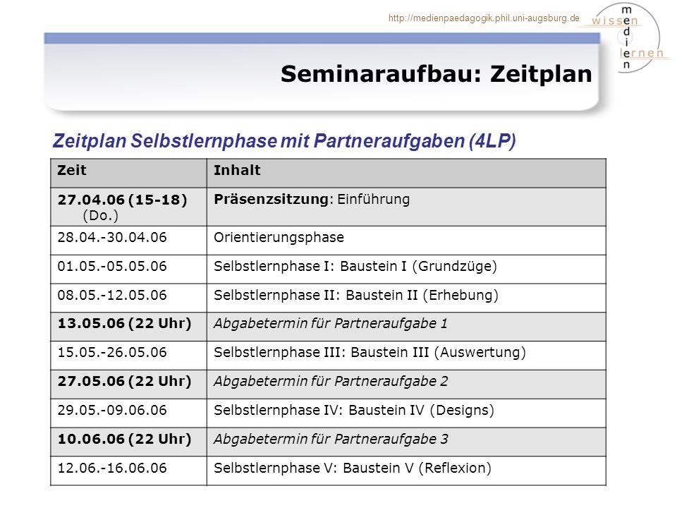 http://medienpaedagogik.phil.uni-augsburg.de Seminaraufbau: Zeitplan Zeitplan Selbstlernphase mit Partneraufgaben (4LP) ZeitInhalt 27.04.06 (15-18) (D