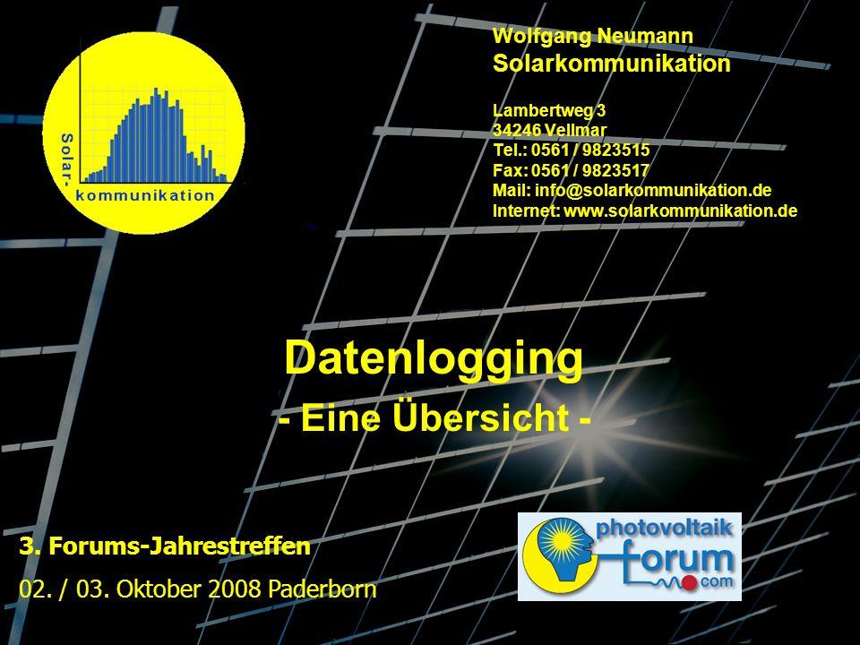 Wolfgang Neumann Solarkommunikation Lambertweg 3 34246 Vellmar Tel.: 0561 / 9823515 Fax: 0561 / 9823517 Mail: info@solarkommunikation.de Internet: www