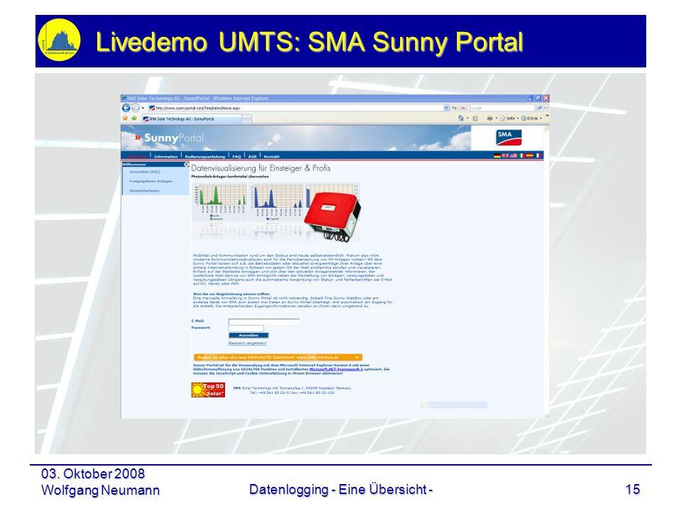 03. Oktober 2008 Wolfgang NeumannDatenlogging - Eine Übersicht -15 Livedemo UMTS: SMA Sunny Portal