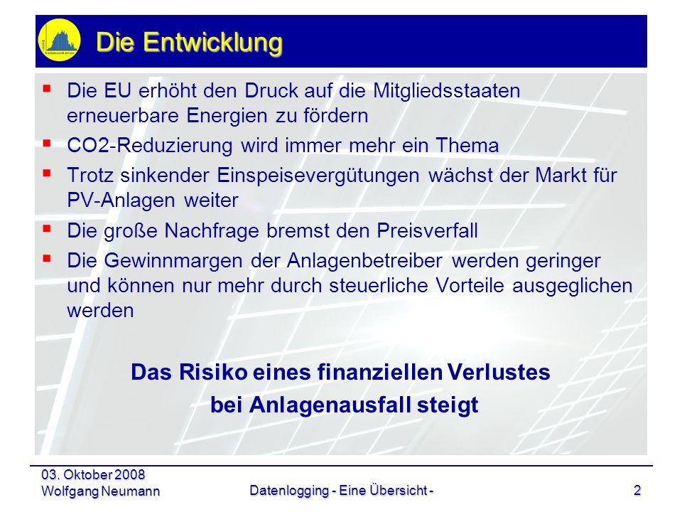 03. Oktober 2008 Wolfgang NeumannDatenlogging - Eine Übersicht -2 Die Entwicklung Die EU erhöht den Druck auf die Mitgliedsstaaten erneuerbare Energie