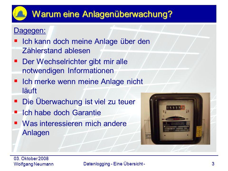 03. Oktober 2008 Wolfgang NeumannDatenlogging - Eine Übersicht -3 Warum eine Anlagenüberwachung? Dagegen: Ich kann doch meine Anlage über den Zählerst