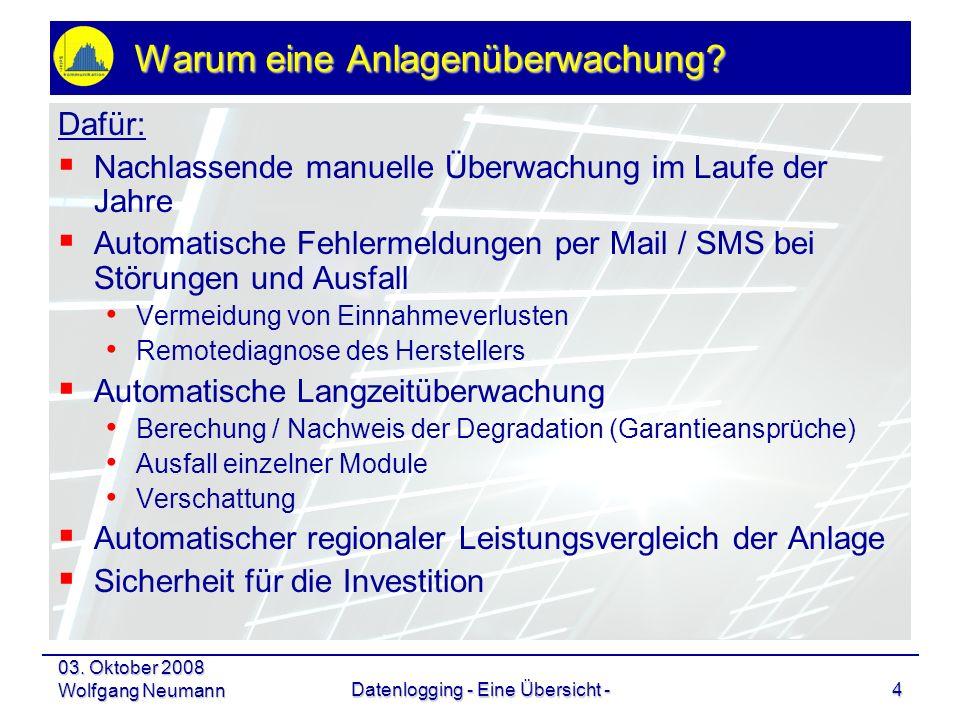 03. Oktober 2008 Wolfgang NeumannDatenlogging - Eine Übersicht -4 Warum eine Anlagenüberwachung? Dafür: Nachlassende manuelle Überwachung im Laufe der