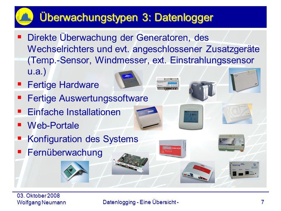 03. Oktober 2008 Wolfgang NeumannDatenlogging - Eine Übersicht -7 Überwachungstypen 3: Datenlogger Direkte Überwachung der Generatoren, des Wechselric