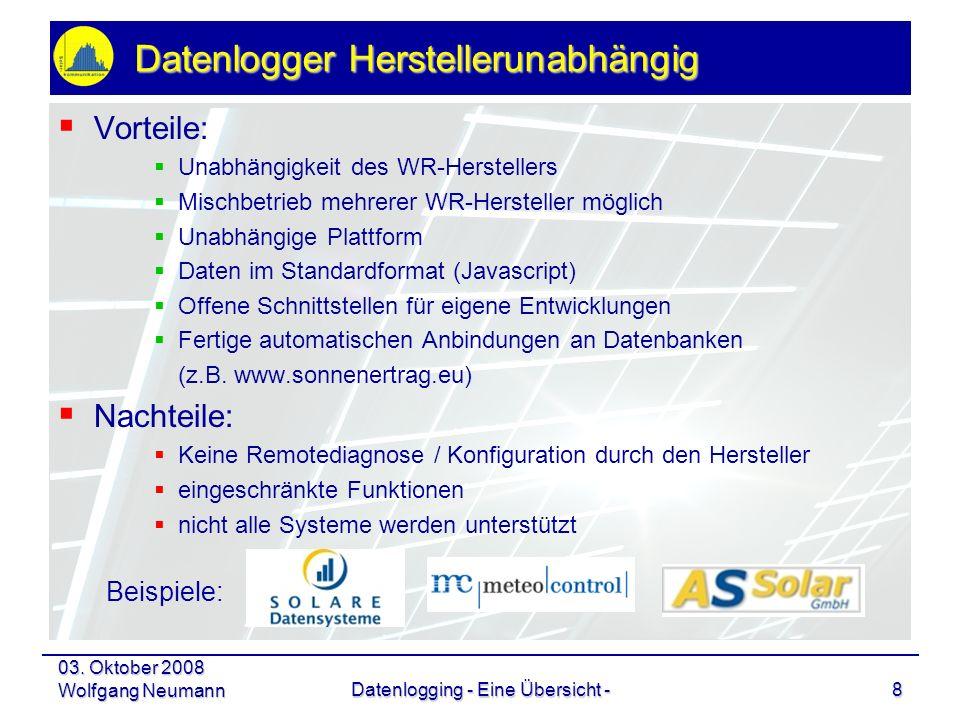 03. Oktober 2008 Wolfgang NeumannDatenlogging - Eine Übersicht -8 Datenlogger Herstellerunabhängig Vorteile: Unabhängigkeit des WR-Herstellers Mischbe