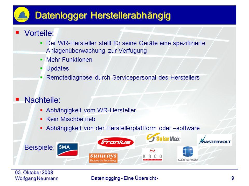 03. Oktober 2008 Wolfgang NeumannDatenlogging - Eine Übersicht -9 Datenlogger Herstellerabhängig Vorteile: Der WR-Hersteller stellt für seine Geräte e