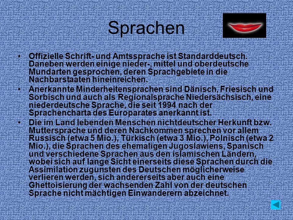 Sprachen Offizielle Schrift- und Amtssprache ist Standarddeutsch. Daneben werden einige nieder-, mittel und oberdeutsche Mundarten gesprochen, deren S