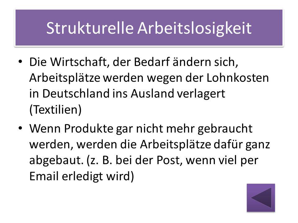 Strukturelle Arbeitslosigkeit Die Wirtschaft, der Bedarf ändern sich, Arbeitsplätze werden wegen der Lohnkosten in Deutschland ins Ausland verlagert (