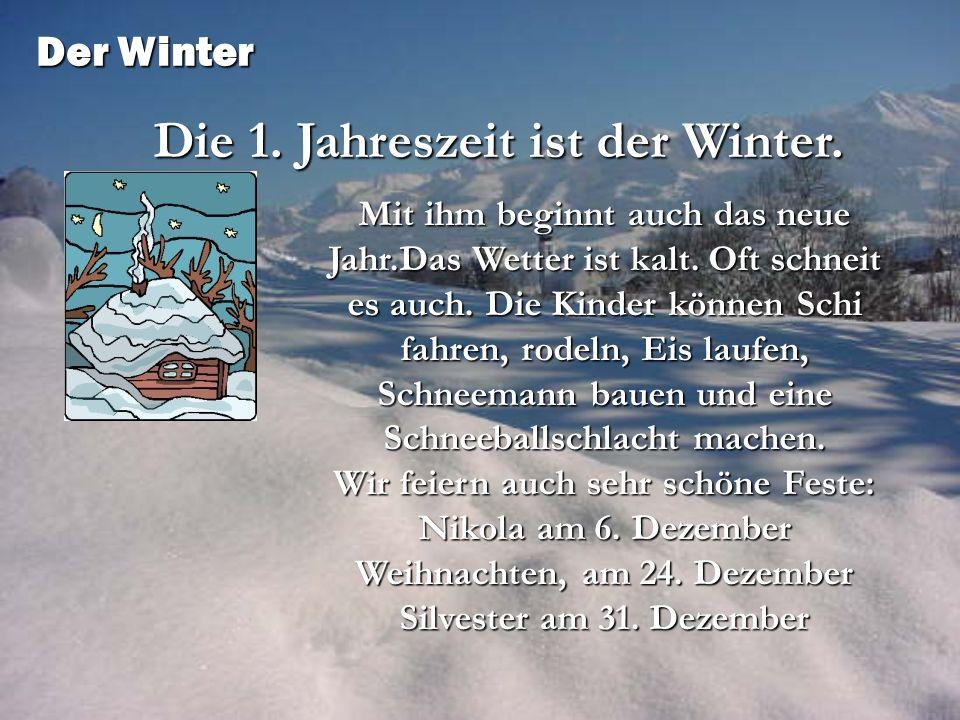 Mit ihm beginnt auch das neue Jahr.Das Wetter ist kalt. Oft schneit es auch. Die Kinder können Schi fahren, rodeln, Eis laufen, Schneemann bauen und e