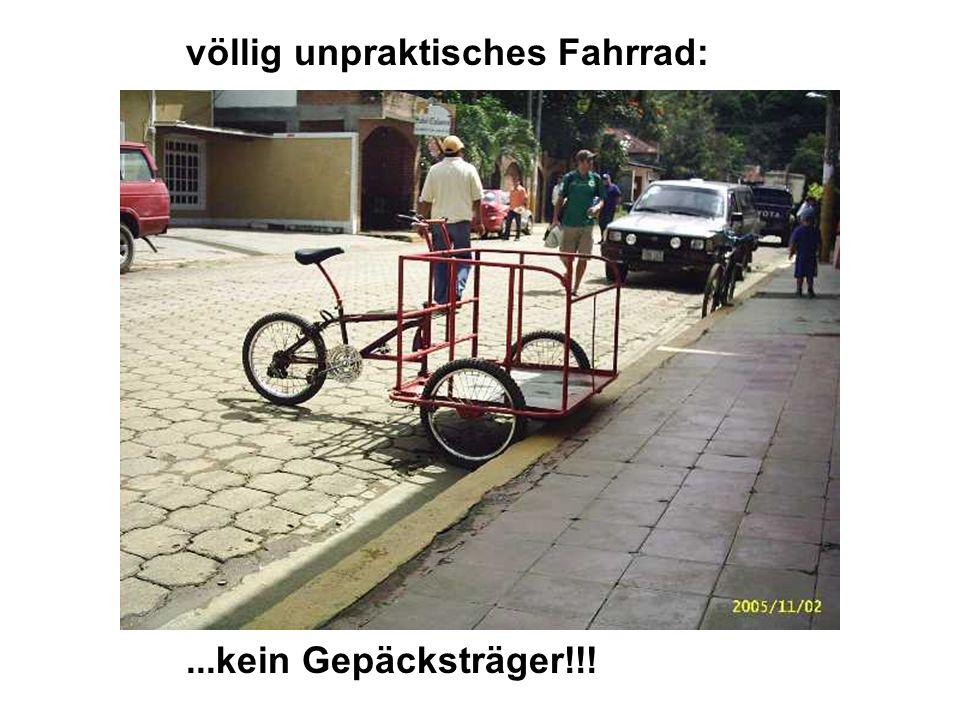 : völlig unpraktisches Fahrrad:...kein Gepäcksträger!!!