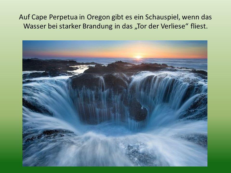 Auf Cape Perpetua in Oregon gibt es ein Schauspiel, wenn das Wasser bei starker Brandung in das Tor der Verliese fliest.
