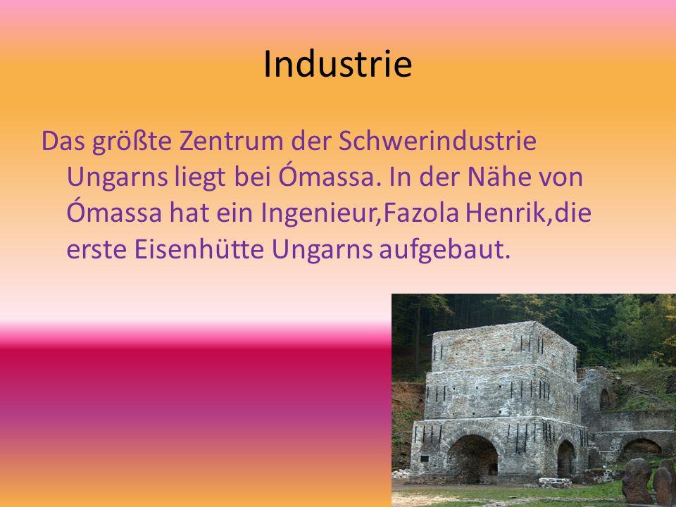 Industrie Das größte Zentrum der Schwerindustrie Ungarns liegt bei Ómassa. In der Nähe von Ómassa hat ein Ingenieur,Fazola Henrik,die erste Eisenhütte
