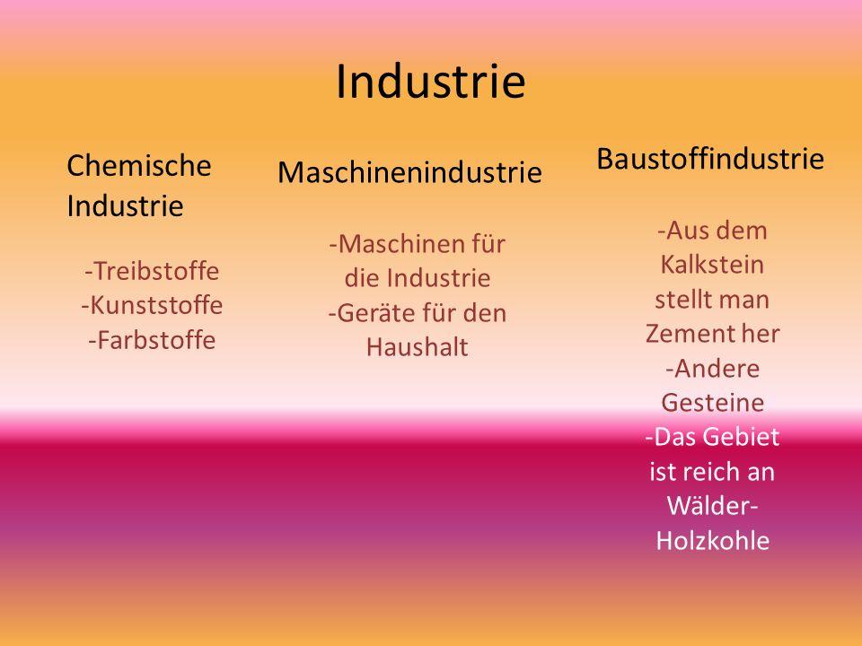 Chemische Industrie Maschinenindustrie Baustoffindustrie -Treibstoffe -Kunststoffe -Farbstoffe -Maschinen für die Industrie -Geräte für den Haushalt -