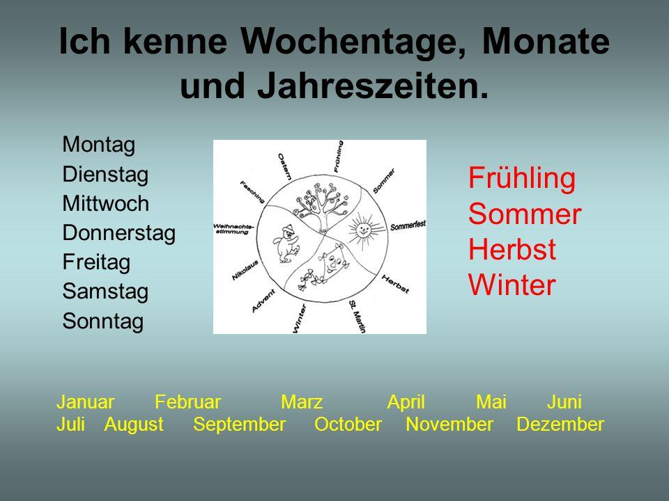 Ich kenne Wochentage, Monate und Jahreszeiten. Montag Dienstag Mittwoch Donnerstag Freitag Samstag Sonntag Frühling Sommer Herbst Winter Januar Februa