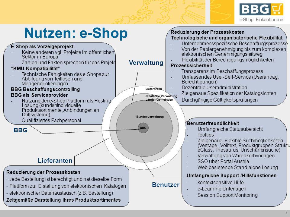 7 Nutzen: e-Shop Reduzierung der Prozesskosten Technologische und organisatorische Flexibilität -Unternehmensspezifische Beschaffungsprozesse -Von der