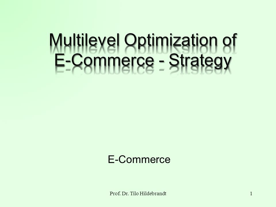 Optimization Goal Maximize profit of the E- Commerce strategy under the side condition of Internet 2Prof.