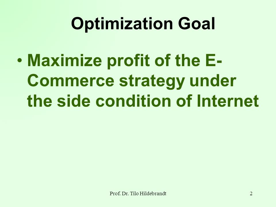 Optimization Goal Maximize profit of the E- Commerce strategy under the side condition of Internet 2Prof. Dr. Tilo Hildebrandt