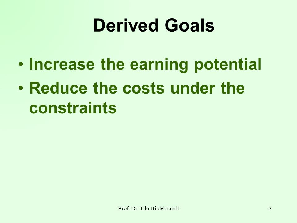 Derived Goals Increase the earning potential Reduce the costs under the constraints 3Prof. Dr. Tilo Hildebrandt