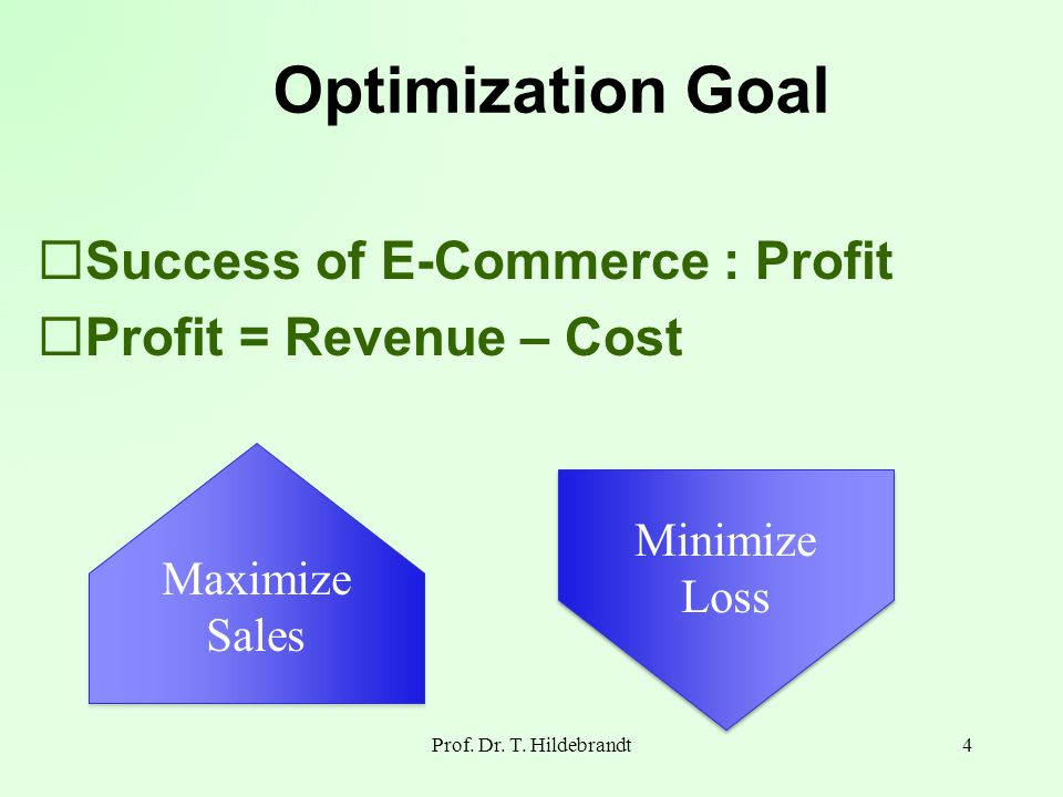 Optimization Goal Prof. Dr. T. Hildebrandt4 Success of E-Commerce : Profit = Revenue – Cost Maximize Sales Maximize Sales Minimize Loss Minimize Loss