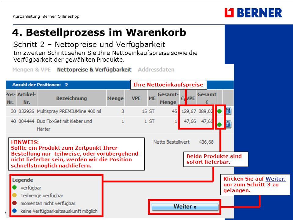 Kurzanleitung Berner Onlineshop Albert Berner Deutschland GmbH – April 2008 4. Bestellprozess im Warenkorb Schritt 2 – Nettopreise und Verfügbarkeit I