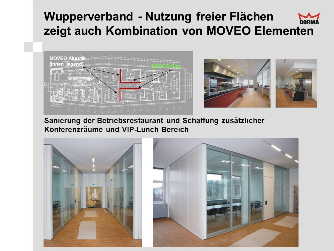 MOVEO Glas MOVEO Akustik (innen liegend) Sanierung der Betriebsrestaurant und Schaffung zusätzlicher Konferenzräume und VIP-Lunch Bereich Wupperverban