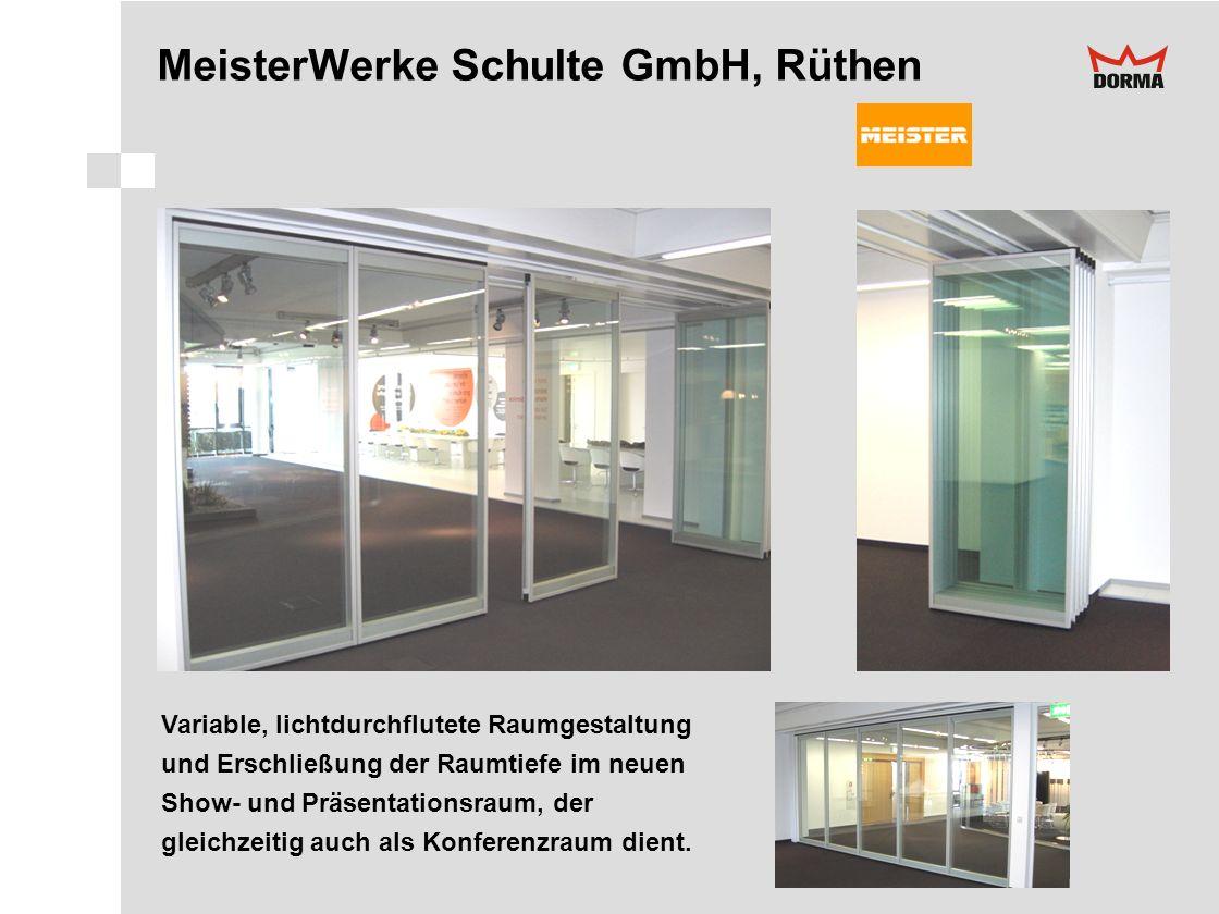 MeisterWerke Schulte GmbH, Rüthen Variable, lichtdurchflutete Raumgestaltung und Erschließung der Raumtiefe im neuen Show- und Präsentationsraum, der