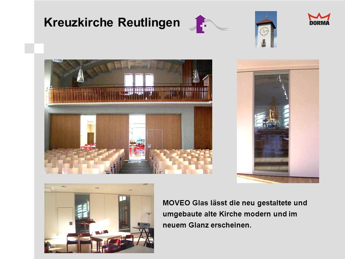 Kreuzkirche Reutlingen MOVEO Glas lässt die neu gestaltete und umgebaute alte Kirche modern und im neuem Glanz erscheinen.