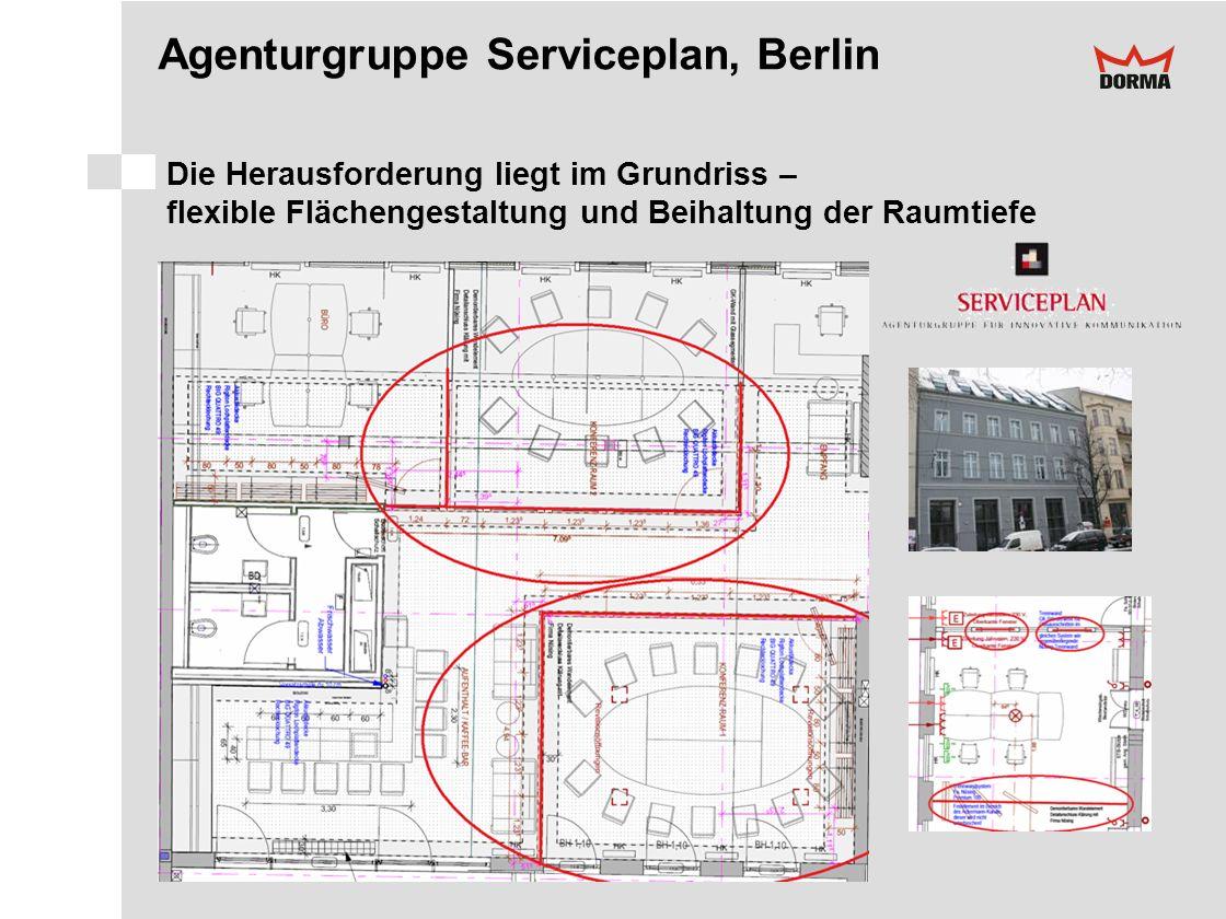 Agenturgruppe Serviceplan, Berlin Die Herausforderung liegt im Grundriss – flexible Flächengestaltung und Beihaltung der Raumtiefe
