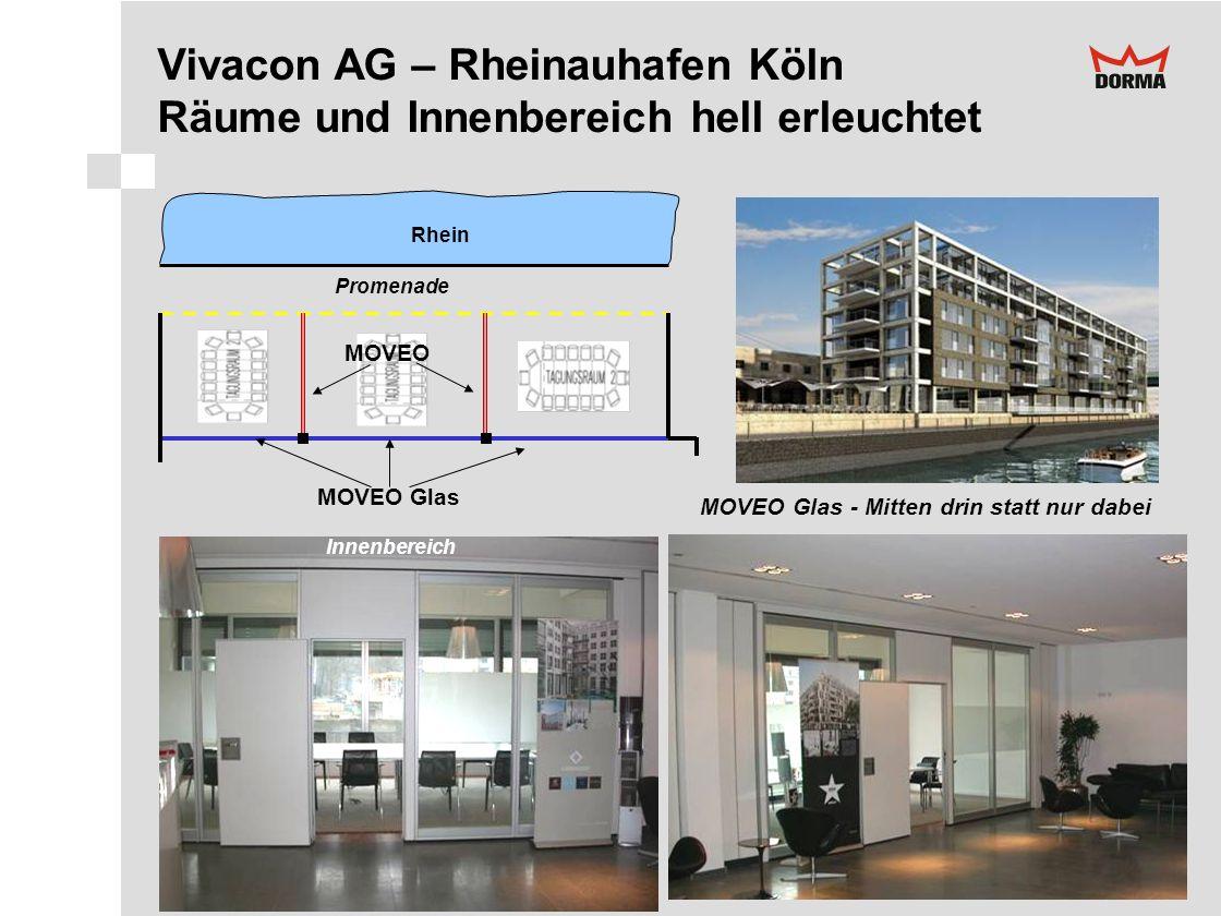 Vivacon AG – Rheinauhafen Köln Räume und Innenbereich hell erleuchtet Rhein MOVEO Glas MOVEO MOVEO Glas - Mitten drin statt nur dabei Promenade Innenb