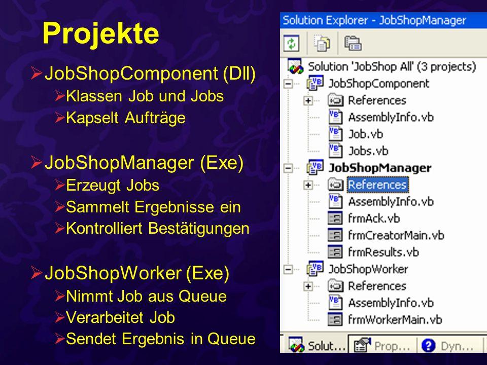 Projekte JobShopComponent (Dll) Klassen Job und Jobs Kapselt Aufträge JobShopManager (Exe) Erzeugt Jobs Sammelt Ergebnisse ein Kontrolliert Bestätigun
