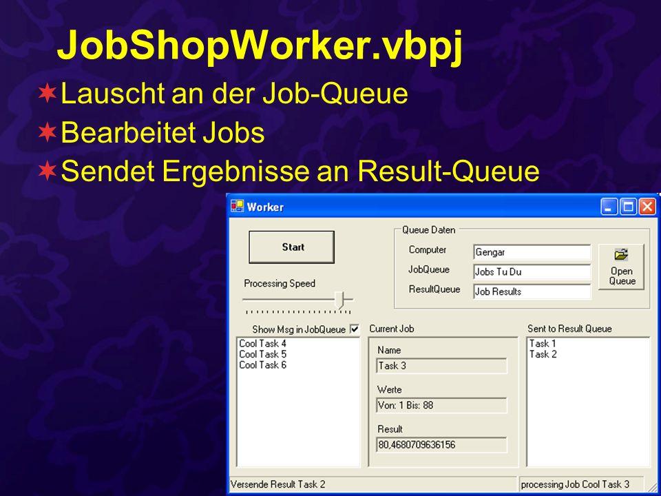 JobShopWorker.vbpj Lauscht an der Job-Queue Bearbeitet Jobs Sendet Ergebnisse an Result-Queue