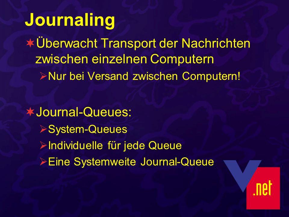 Journaling Überwacht Transport der Nachrichten zwischen einzelnen Computern Nur bei Versand zwischen Computern! Journal-Queues: System-Queues Individu