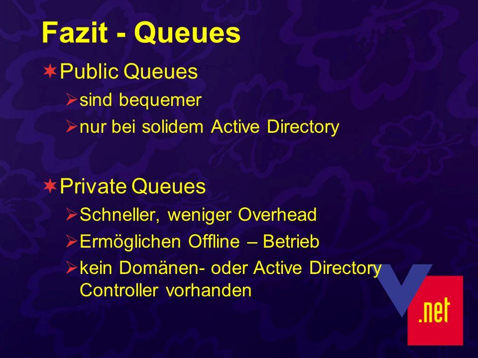 Fazit - Queues Public Queues sind bequemer nur bei solidem Active Directory Private Queues Schneller, weniger Overhead Ermöglichen Offline – Betrieb k