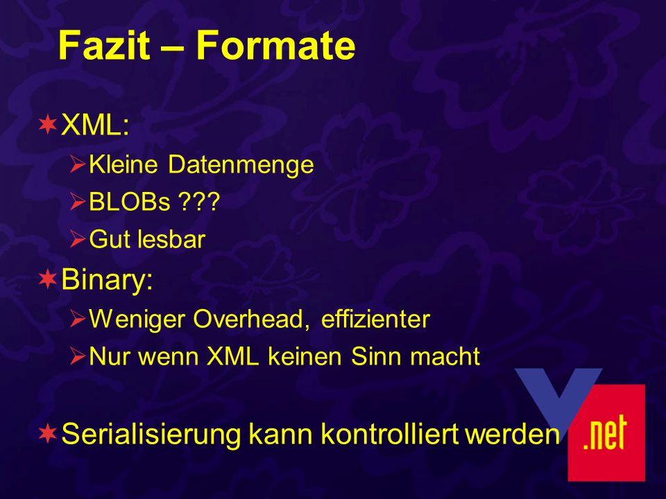 Fazit – Formate XML: Kleine Datenmenge BLOBs ??? Gut lesbar Binary: Weniger Overhead, effizienter Nur wenn XML keinen Sinn macht Serialisierung kann k