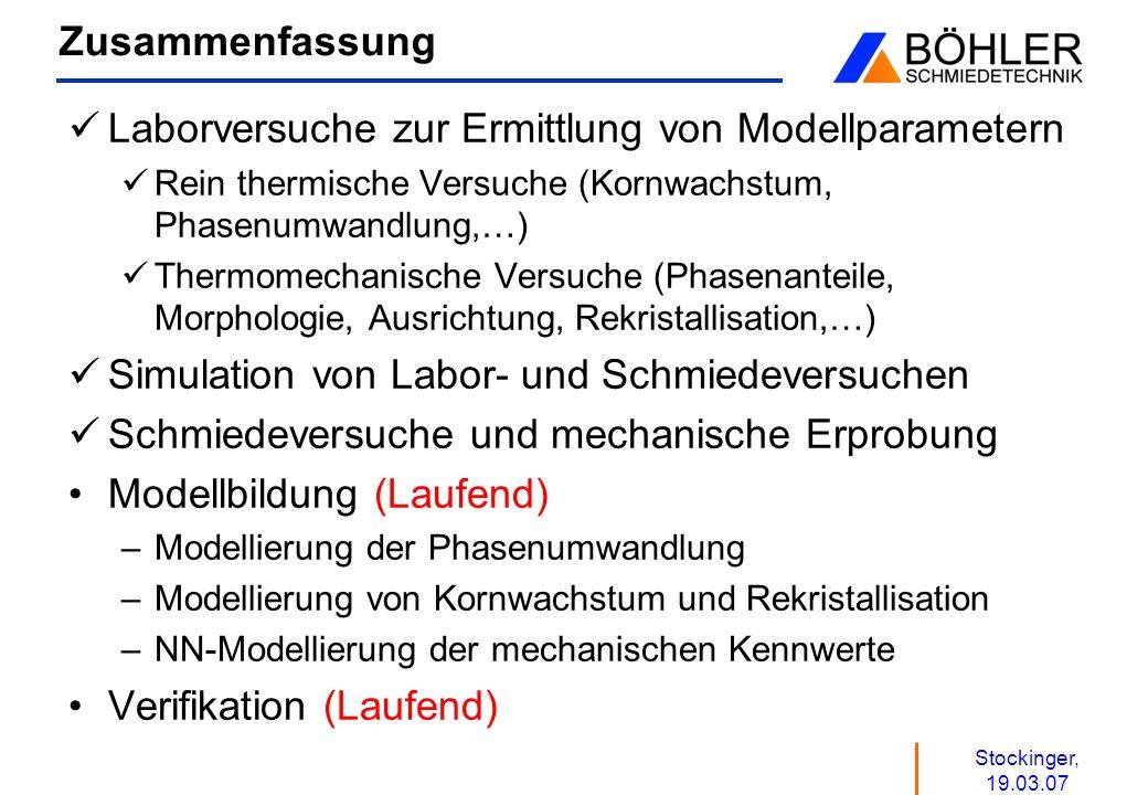Stockinger, 19.03.07 Zusammenfassung Laborversuche zur Ermittlung von Modellparametern Rein thermische Versuche (Kornwachstum, Phasenumwandlung,…) The