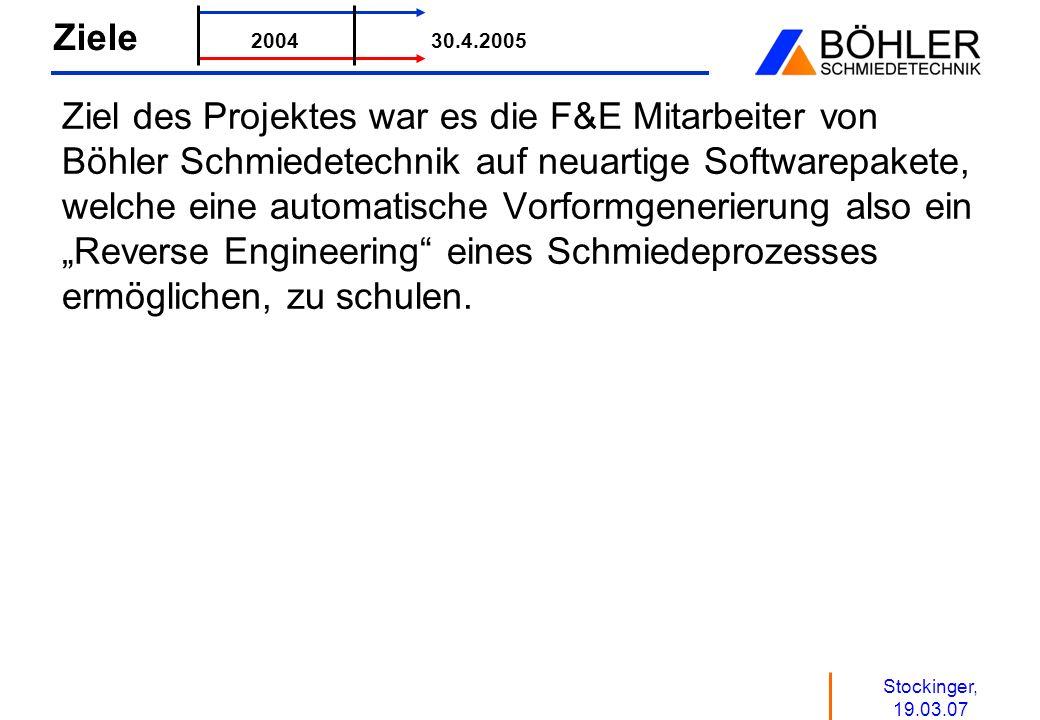 Stockinger, 19.03.07 Ziele Ziel des Projektes war es die F&E Mitarbeiter von Böhler Schmiedetechnik auf neuartige Softwarepakete, welche eine automati