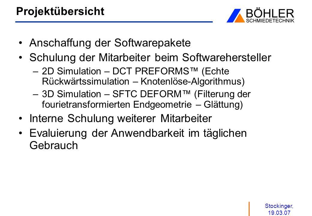 Stockinger, 19.03.07 Projektübersicht Anschaffung der Softwarepakete Schulung der Mitarbeiter beim Softwarehersteller –2D Simulation – DCT PREFORMS (E
