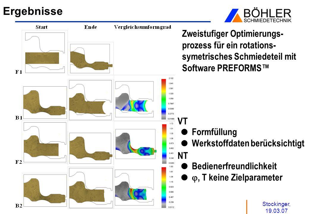Stockinger, 19.03.07 Ergebnisse Zweistufiger Optimierungs- prozess für ein rotations- symetrisches Schmiedeteil mit Software PREFORMS VT Formfüllung W