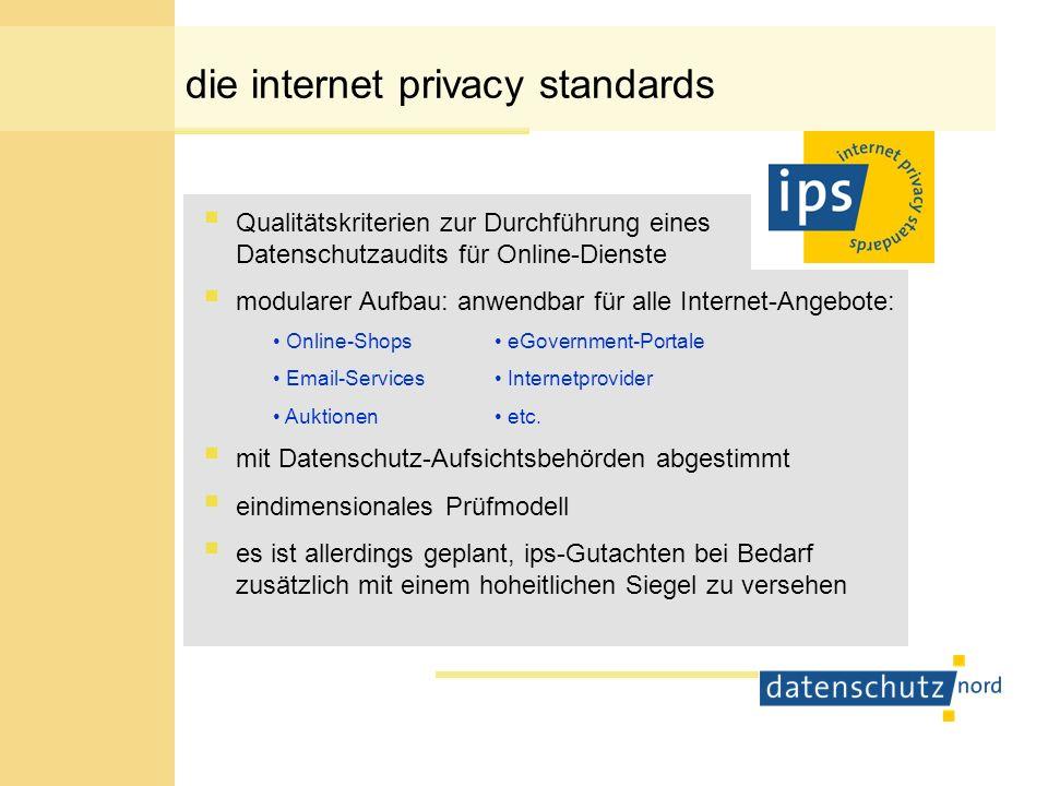 die internet privacy standards Qualitätskriterien zur Durchführung eines Datenschutzaudits für Online-Dienste modularer Aufbau: anwendbar für alle Int