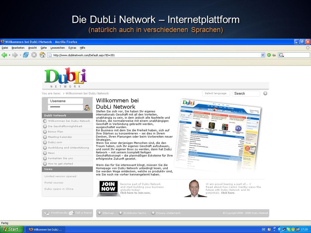 Die DubLi Network – Internetplattform (natürlich auch in verschiedenen Sprachen) Die DubLi Network – Internetplattform (natürlich auch in verschiedene