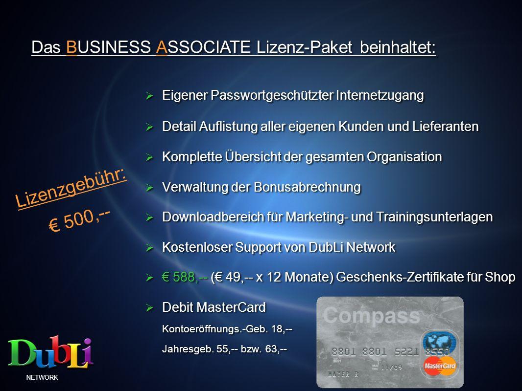 Das BUSINESS ASSOCIATE Lizenz-Paket beinhaltet: Eigener Passwortgeschützter Internetzugang Detail Auflistung aller eigenen Kunden und Lieferanten Komp