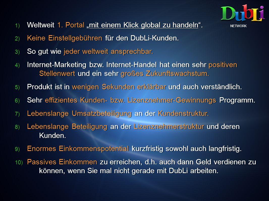 NETWORK 1) 1) Weltweit 1. Portal mit einem Klick global zu handeln. 2) 2) Keine Einstellgebühren für den DubLi-Kunden. 3) 3) So gut wie jeder weltweit