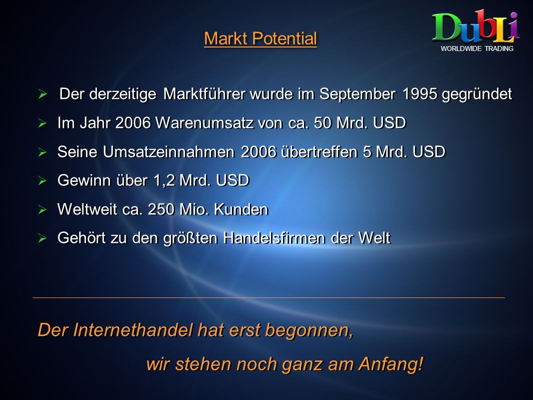Markt Potential WORLDWIDE TRADING Der derzeitige Marktführer wurde im September 1995 gegründet Im Jahr 2006 Warenumsatz von ca. 50 Mrd. USD Seine Umsa
