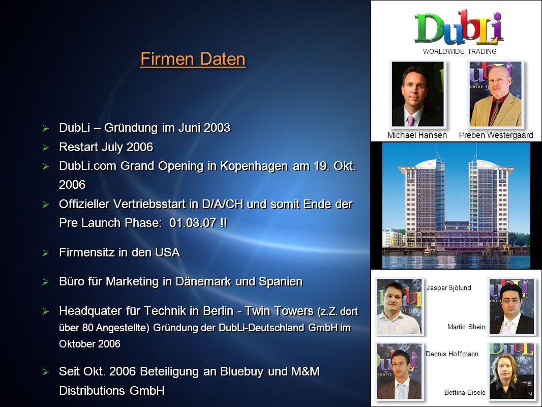 Firmen Daten DubLi – Gründung im Juni 2003 Restart July 2006 DubLi.com Grand Opening in Kopenhagen am 19. Okt. 2006 Offizieller Vertriebsstart in D/A/