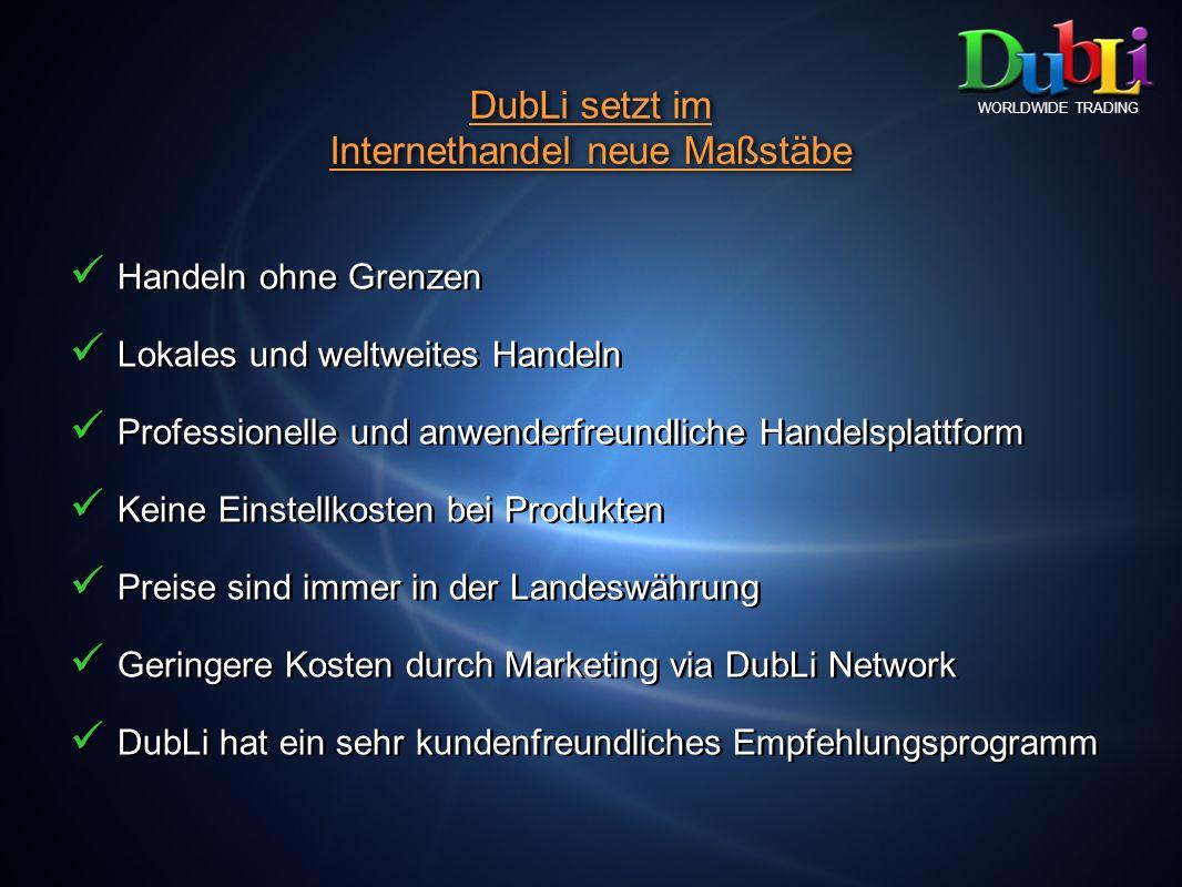 DubLi setzt im Internethandel neue Maßstäbe DubLi setzt im Internethandel neue Maßstäbe WORLDWIDE TRADING Handeln ohne Grenzen Lokales und weltweites