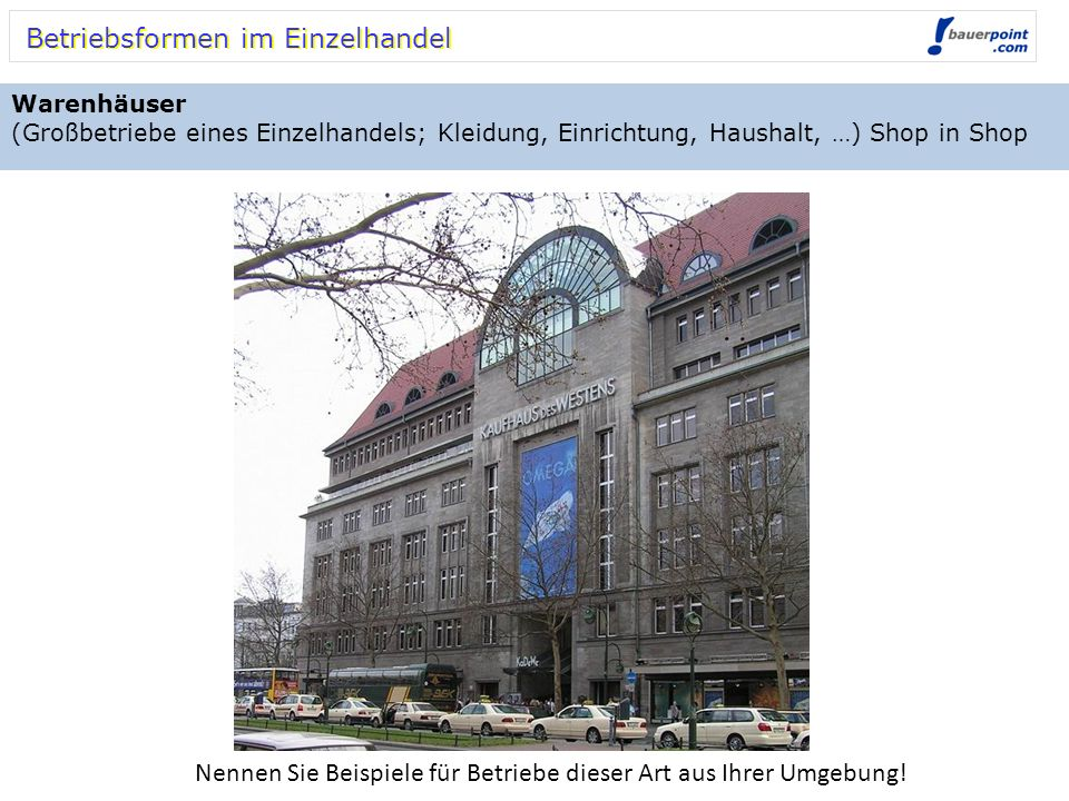 Betriebsformen im Einzelhandel Warenhäuser (Großbetriebe eines Einzelhandels; Kleidung, Einrichtung, Haushalt, …) Shop in Shop Nennen Sie Beispiele fü